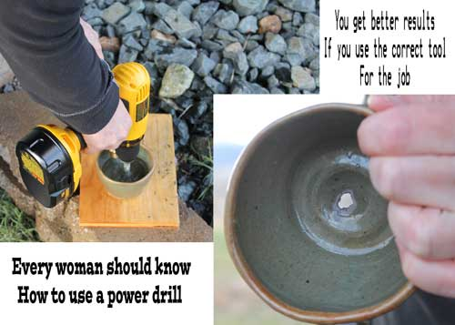 Using a concrete drill bit on pottery gives a little less than perfect results.