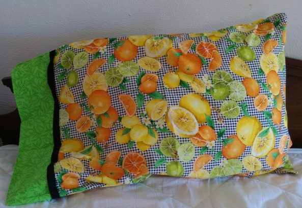 The fabric I used in this pillowcase always makes me smile because it is so crazy unexpected.